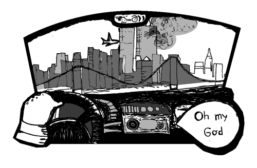 Brooklyn, September 11, 2001. Illustration Atle Skorstad.