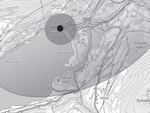 Figure 2: We defined three areas of proximity for Lokanytt. The figure shows a typical layout from the town of Voss, where mountain slopes, rivers and lakes create a natural ellipse in which most of the population and its transport structures are contained.