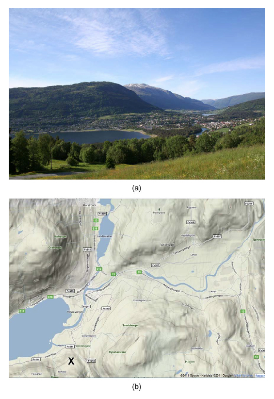 Figure 2. The same topographical perspective on Voss as represented in a photograph (a) and a web map (b). The X on the map shows the approximate position of the photographer. Source: Photo Wikimedia Commons (http://no.wikipedia.org/wiki/Fil:Voss2.jpg); map based on Google Maps.
