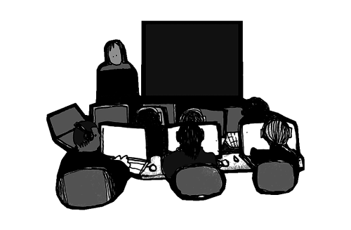 Youths with laptops at school. Illustration: Atle Skorstad.